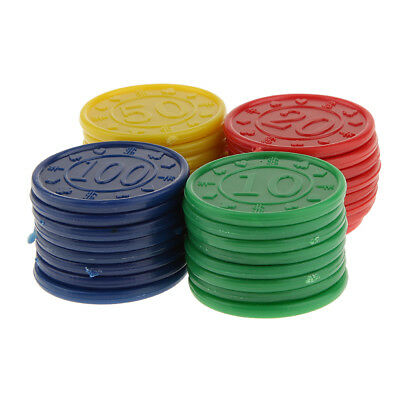 32 Plastic Poker Chips Red Green Blue Yellow Easy Stacking Washable