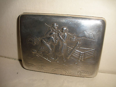 Nice antique Russian Imperial 84 silver cigarette case village scene with people
