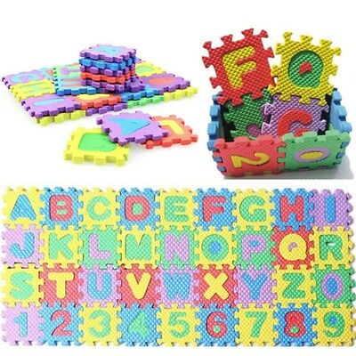 36pcs Small Size Puzzle Baby Educational Toy Alphabet Letter Numeral Foam Mat UK