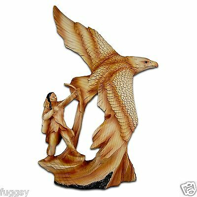 The Cherokee River Collection Soaring Eagle & Native American Timber Look Resin