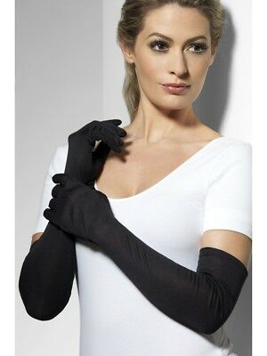 Black jersey long gloves costume witch halloween Burlesque 20s flapper 9363