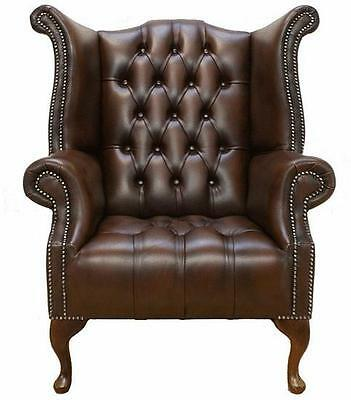 Chesterfield Buttoned Seat Queen Anne High Back Wing Chair Brown Leather