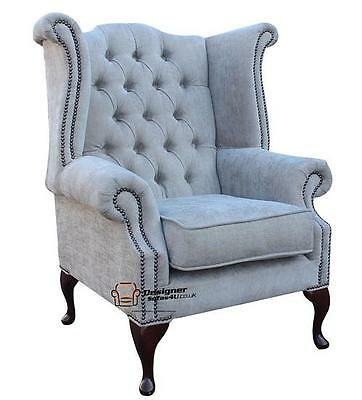 Chesterfield Armchair Queen Anne High Back Wing Chair Velluto Hessian Mink
