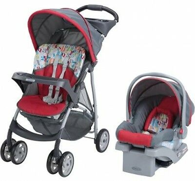 Baby Stroller Car Seat Combo Travel System Graco LiteRider Click Connect Red 22