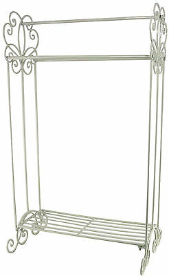 COUNTRY Shabby Chic Vintage Style Metal Free Standing TOWEL RAIL in Cream Ivory