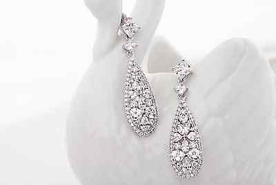 Sparkly Cubic Zirconia Bridal Earrings Party drop Cubic Wedding dangle Cluster