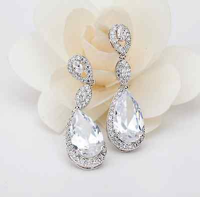 Sparkly Bridal Earrings Tear Pear Drop Cubic Zirconia Dangle Cluster Classic