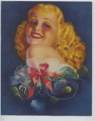 Vintage  1930's-40s Print Alluring  Strawberry Blonde Beauty Pin Up Girl Devorss