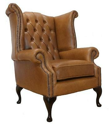 Chesterfield Armchair Queen Anne High Back Wing Chair Old English Tan Leather