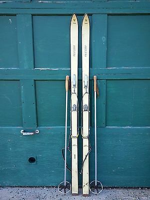 """Vintage Wooden 70"""" Long Skis with White Finish + Bindings and Metal Poles"""