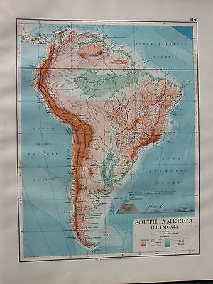 1900 Victorian Map ~ South America Land Heights Mountains Table Land Peru
