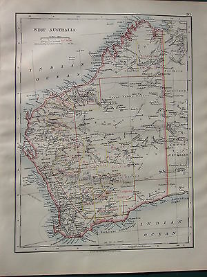 1900 Victorian Map ~ West Australia Showing Goldfields Perth Albany