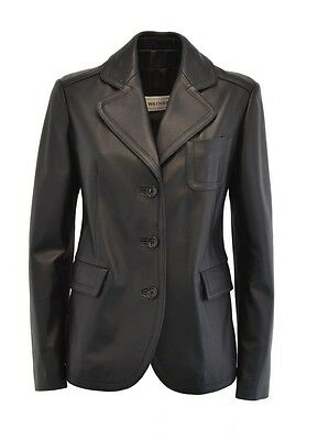 166fa15fb166a GIACCA PELLE BLAZER Nera 1378 Donna Woman Real Leather Jacket Blazer ...