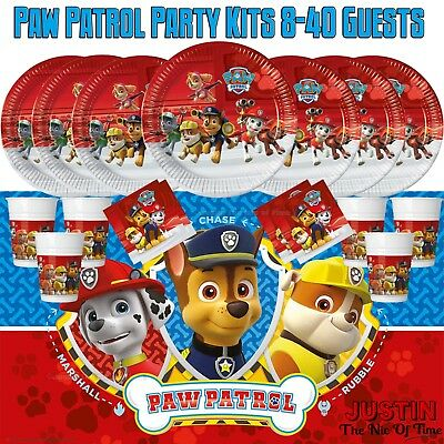 PAW PATROL Boys Plates Cups Napkins Tableware BIRTHDAY PARTY KITS 8 - 40 Guests