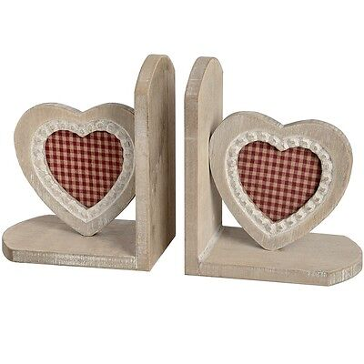 Elegant Wood Wooden HEART Bookends Office Study Bookcase Book Ends Red Check