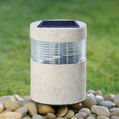 Solar Powered Stone Post Led Light Rechargeable Outdoor Home Garden Decor Lights