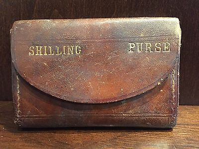 Antique Leather Schilling Purse Vintage Coin Change Wallet