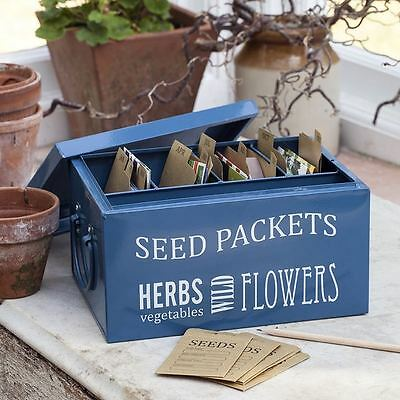 Burgon and Ball Seed Packet Organiser - Petrol Blue