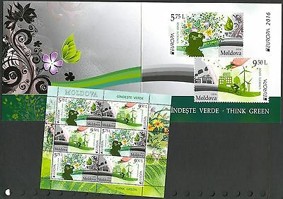 Moldova 2016 Europa CEPT Think Green Bicycle Wind Mills Booklet MNH**