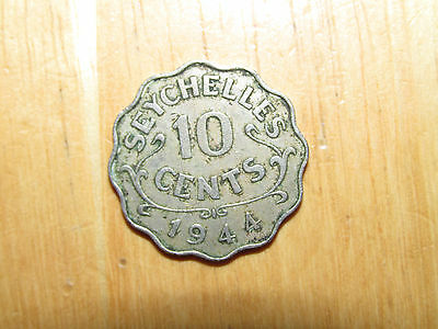 Seychelles 1944 10 Cents coin Very Fine nice ONLY 36,000 minted