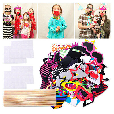 HOT 76pcs DIY Mask Photo Booth Props Stick Wedding Birthday Xmas Party Fun Favor