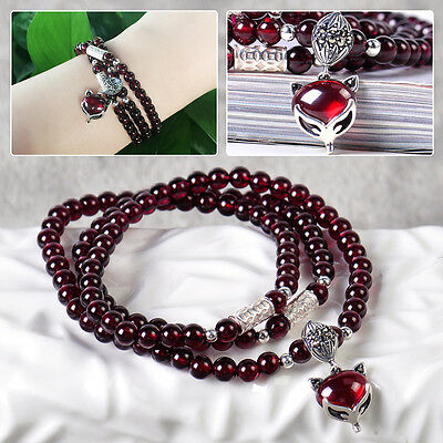 Natural Garnet Gemstone Bracelet Necklace 6mm Bead Handmade Jewelry Fox Pendant