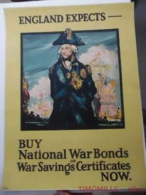 1918 WWI British Poster England Expects Admiral Horatio Nelson William J. Franks