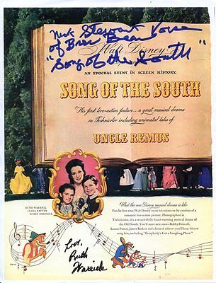 NICK STEWART & RUTH WARRiCK: Walt Disney's SONG OF THE SOUTH: Color Autographed