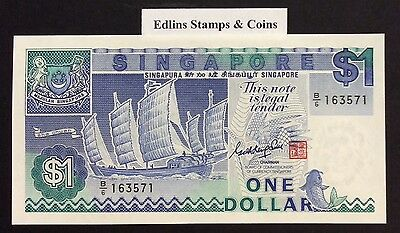 1987 $1 Singapore Banknote - Uncirculated - Pick 18A - B/6 163571