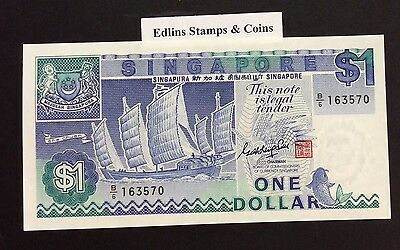 1987 $1 Singapore Banknote - Uncirculated - Pick 18A - B/6 163570