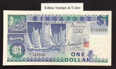 1987 $1 Singapore Banknote - Uncirculated - Pick 18A - B/6 163559