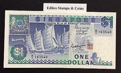 1987 $1 Singapore Banknote - Uncirculated - Pick 18A - B/6 163540