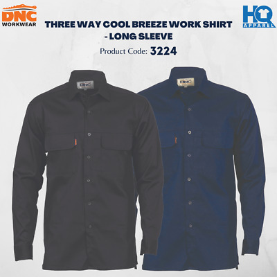 Three Way Cool Breeze Work Shirt - Long Sleeve Brand New Clothes 3224 Dnc