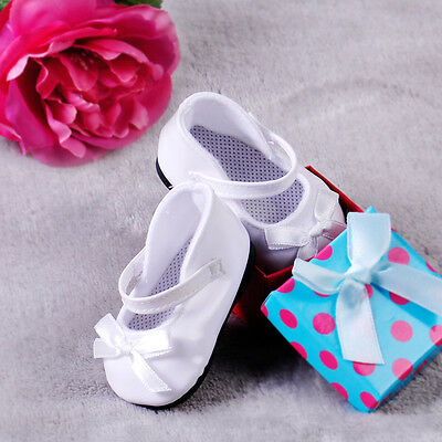 "Doll Shoes White Patent Leather Mary Jane Shoes with Bow fit 18"" American Girl"