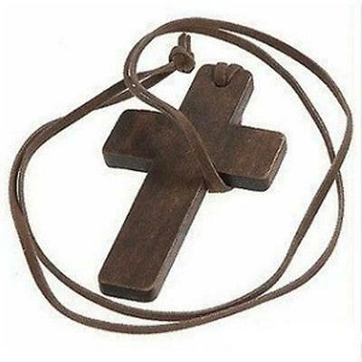 Pop ! Retro Ancient Wooden Christian Religous Cross Necklace Pendant Xmas Gift