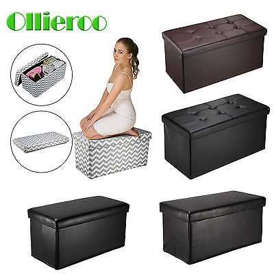 Ollieroo Fold Ottoman Storage Box Large Bench Foot Rest Stool Seat Footrest Hot
