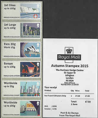 Gb 2015 Post & Go Mint Sea Travel Machin Stampex Kiosks A006 A008 A009 A001 Bpma