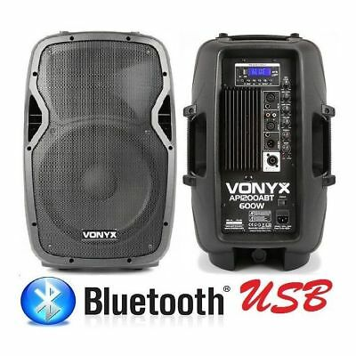 COPPIA CASSE AMPLIFICATE ATTIVE 1200W WOOFER 31 CM in abs CON BLUETOOTH nuove