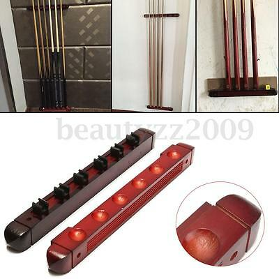 6-slot Billiard Pool Cue Stick Rack Holder Natural Wooden Wall Mounted New