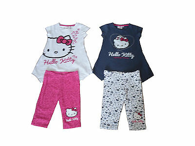 Girls 2 Piece Set T-Shirt & Leggings Hello Kitty 3-10 Years Old Navy Or White