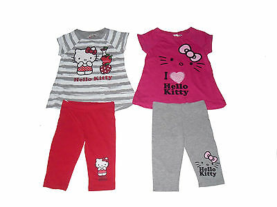 Girls 2 Piece Set T-Shirt & Leggings Hello Kitty 3-10 Years Old Pink Or Grey