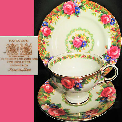Paragon c1940s Tapestry Rose Demitasse Small English Vintage Bone China Trio Set
