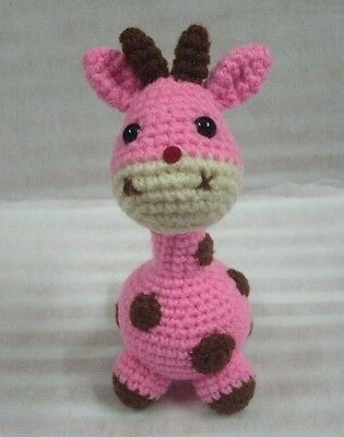 Cute Pink Giraffe Handmade Crochet Stuffed Animal Toy Height 5""