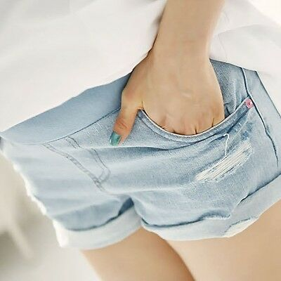 New Ladies Maternity Shorts Loose Over Bump Hot Pants Elastic Frayed Short Jeans