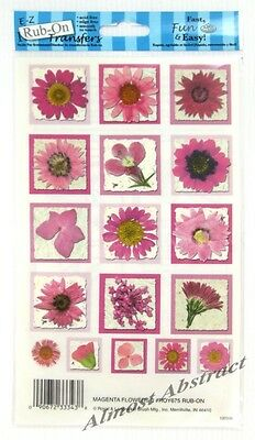 Pink Pressed Flower Squares E-Z Rub-On Transfers Sheet (Decals) ~ New