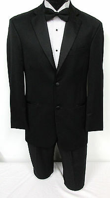 Black Tallia Two Button Satin Notch Tuxedo Package Wedding Prom Formal Mason 38L