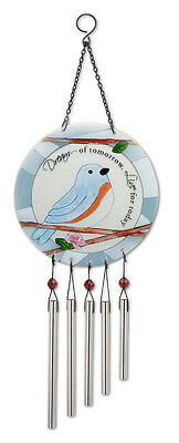 "Bluebirds DREAM of Tomorrow LIVE for Today WindChime 7"" center 20"" high New"