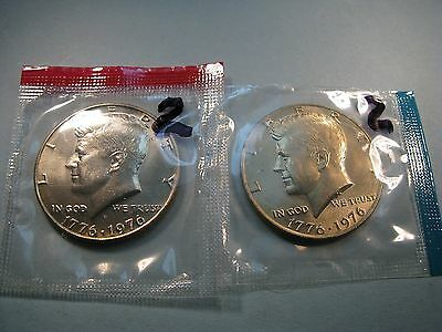 1976 P D Kennedy Half Dollar Coin Set 2 Brilliant Uncirculated Mint Set Coin's