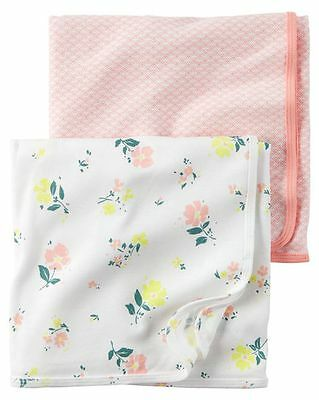 New Carter's Newborn Girl 2 Pack Cotton Swaddle Blankets NWT Floral Pink Stripes