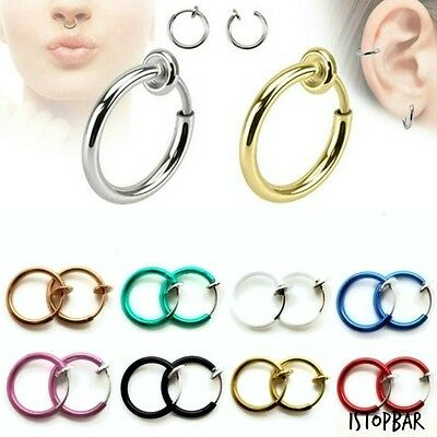 Fake Septum Bcr Clip On Ear Cuff Ring Spring Cheater Lip Piercing Nose Black New